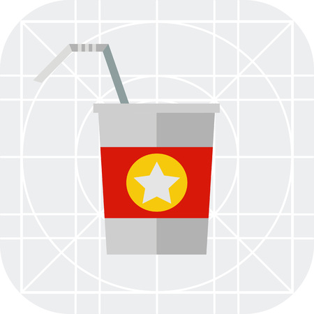 morning walk: Multicolored vector icon of straw and disposable cup with red strip and star