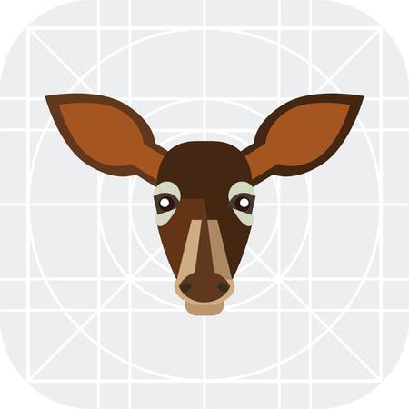 Multicolored vector icon of brown doe head