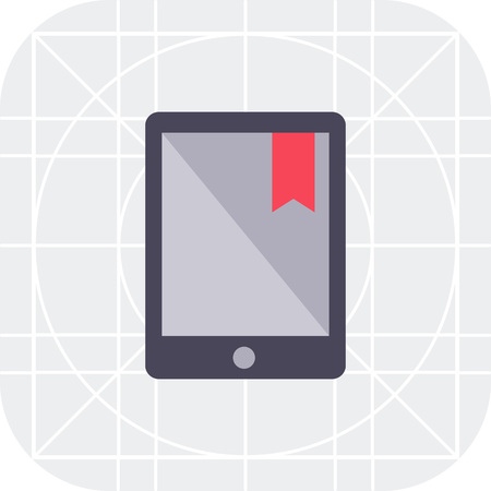 e book device: Icon of electronic book with red tab