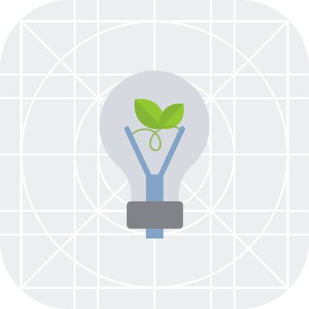 ecofriendly: Vector icon of eco-friendly lightbulb with green leaf inside Illustration