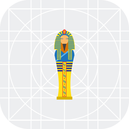 egyptian culture: Vector icon of golden Egyptian pharaoh sarcophagus