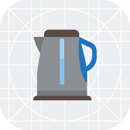 electric kettle: Vector icon of grey electric kettle filled with water