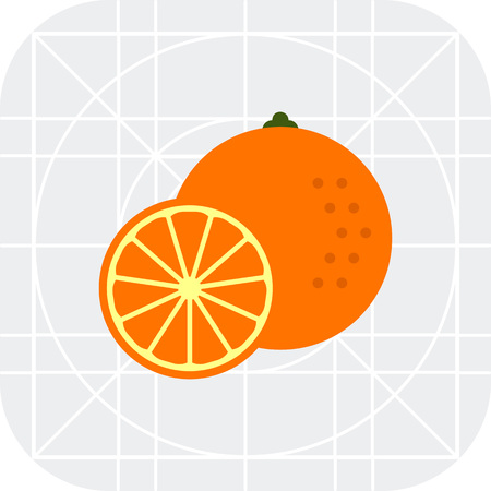 orange cut: Multicolored vector icon of whole orange and cut half