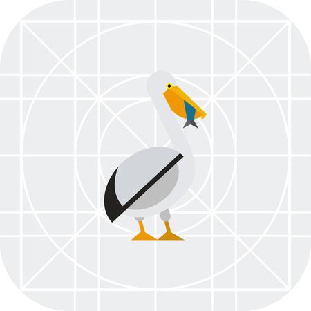 jowl: Multicolored vector icon ofpelican swallowing fish