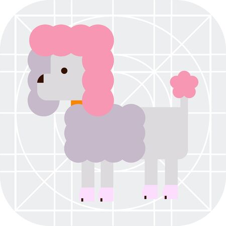 nape: Multicolored vector icon of poodlewith dog collar Illustration