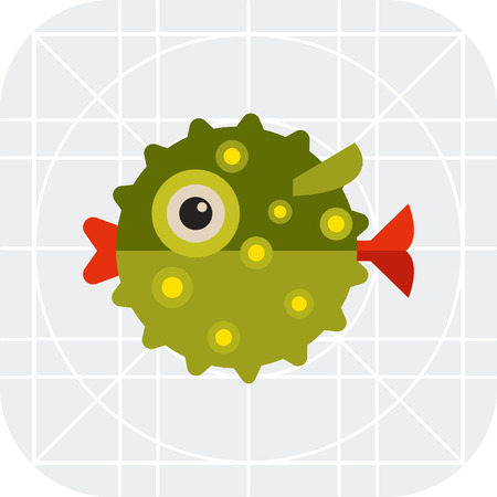 puffer: Multicolored vector icon green of puffer fish, side view