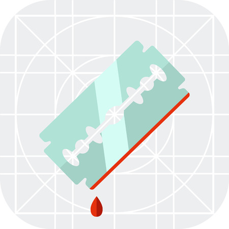 at the edge of: Multicolored vector icon of metal razor blade with blood drop on edge Illustration