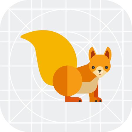 red squirrel: Multicolored vector icon of cartoon red squirrel Illustration