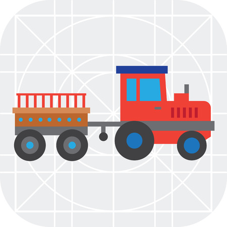 mover: Multicolored vector icon of red tractor with trailer