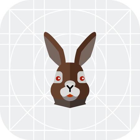 brown hare: Multicolored vector icon of brown hare head