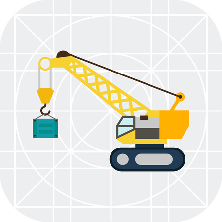 hoisting: Multicolored vector icon of yellow hoisting crane lifting container
