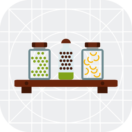 shelf: Vector icon of jars with peas and pasta on shelf