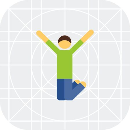 man jumping: Multicolored vector icon of excited man jumping with his hands up Illustration