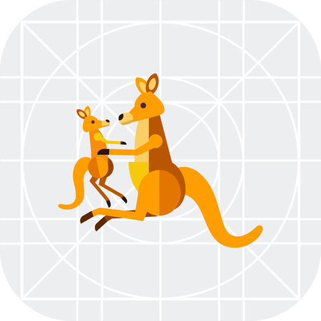 cub: Multicolored vector icon of kangaroo holding cub, side view Illustration