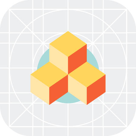 block of flats: Multicolored vector icon of orange 3d cubes Illustration