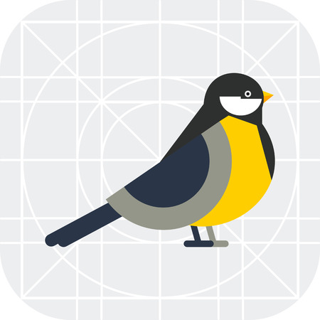 tomtit: Multicolored vector icon of titmouse, side view Illustration