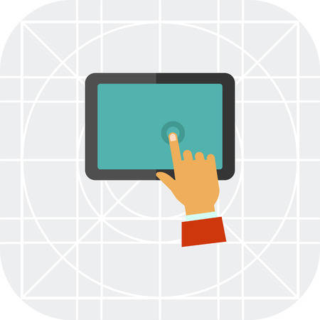 display: Multicolored vector icon of man hand touching tablet display Illustration