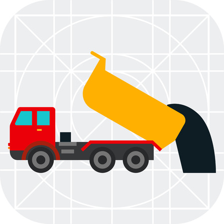 unloading: Multicolored vector icon of unloading dump truck
