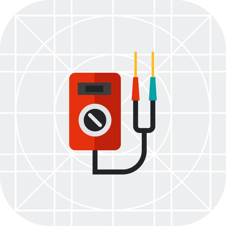 ammeter: Multicolored vector icon of multi functional voltage indicator
