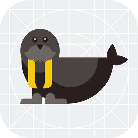 walrus: Multicolored vector icon of black cute walrus