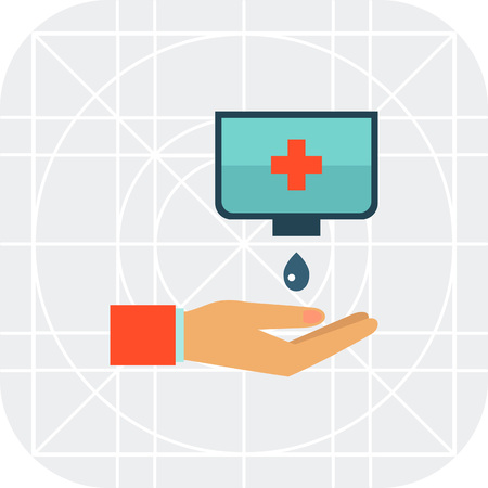 disinfectant: Multicolored vector icon ofwashing hands with disinfectant soap