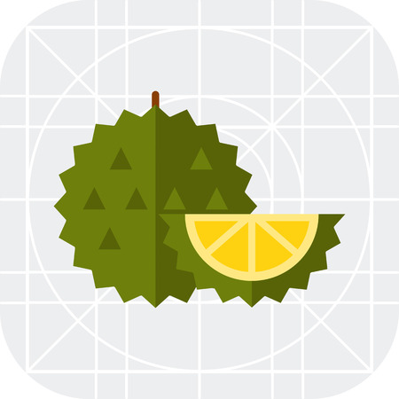 exotic fruit: Multicolored vector icon of whole exotic fruit durian and cut piece