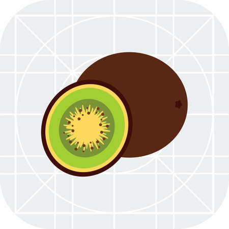 carbohydrate: Multicolored vector icon of whole kiwi and cut kiwi half