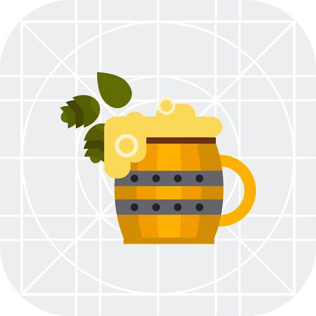 tankard: Multicolored vector icon ofwooden beer mug and hops