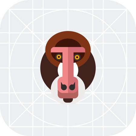 mandrill: Multicolored vector icon of wild mandrill head