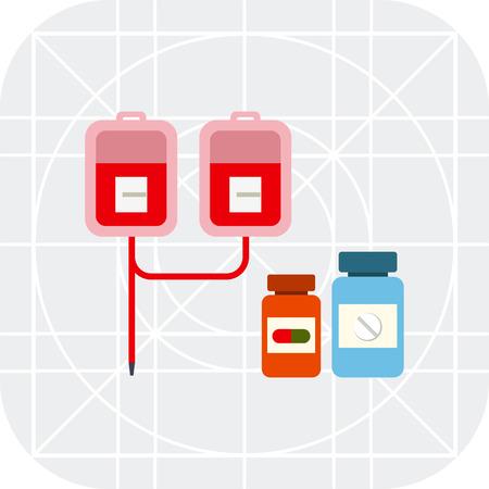Multicolor del icono del vector de goteo médico con bolsas IV y dos frascos de pastillas Ilustración de vector