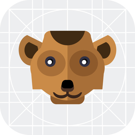 mongoose: Multicolored vector icon of brown meerkat head