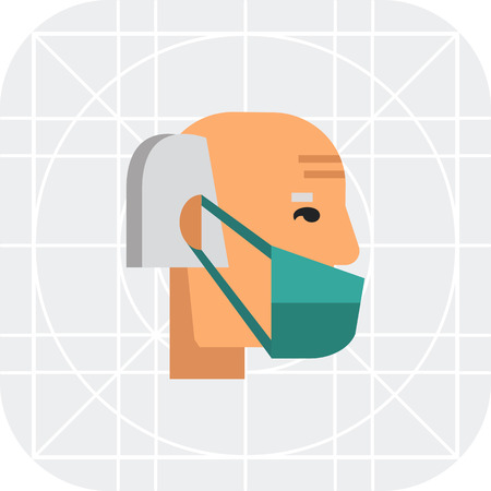 respiratory protection: Multicolored vector icon of old man wearing medical mask