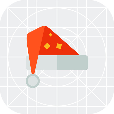 christmas concept: Multicolored vector icon of red Santa hat Illustration