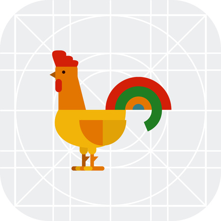 Multicolored vector icon of single rooster, side view