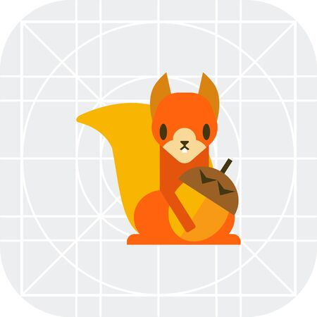 red squirrel: Multicolored vector icon of squirrel holding nut Illustration