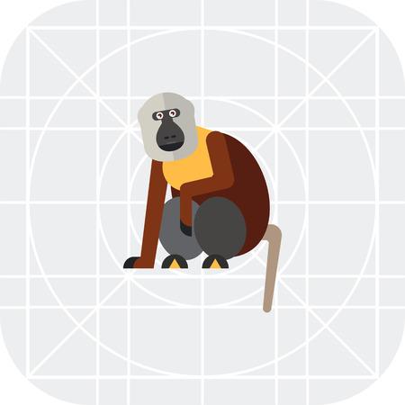 Multicolored vector icon of sitting macaque monkey Vetores