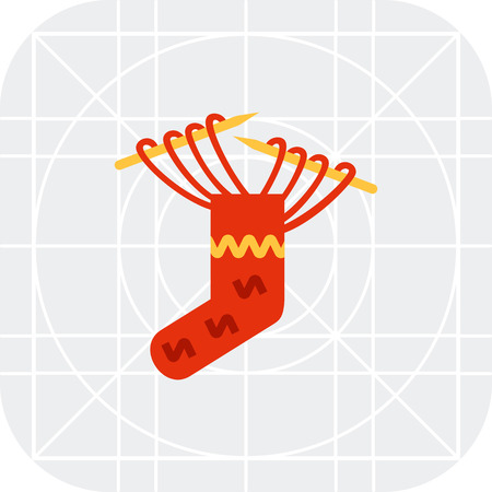 needles: Multicolored vector icon of knitting needles and red sock