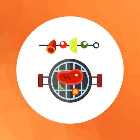 shish kebab: Multicolored vector icon of barbeque and shish kebab on skewer Illustration