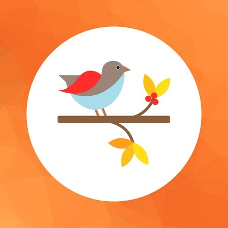 tweeting: Vector icon of bird sitting on branch Illustration