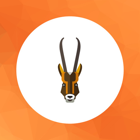Multicolored vector icon of antelope head with long horns