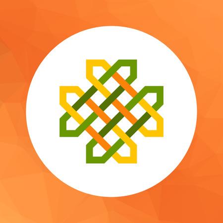 celtic: Multicolored vector icon of green Celtic ornament