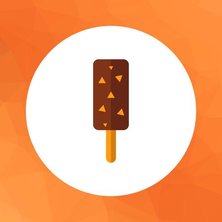 choc: Multicolored vector icon of choc-ice with nuts on stick Illustration