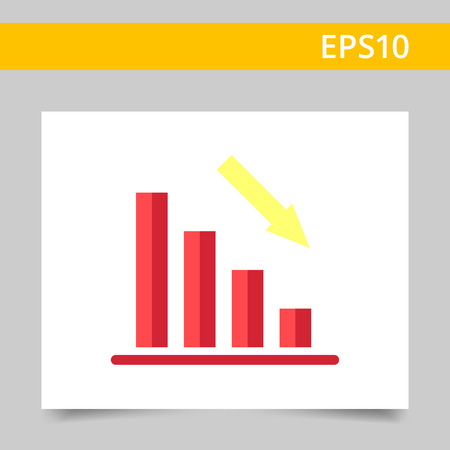 collapsed: Icon of declining bar chart Illustration