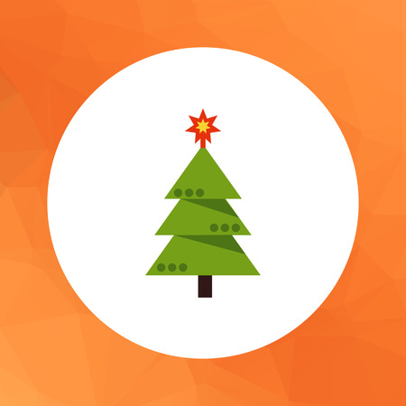 decorated christmas tree: Multicolored vector icon of decorated Christmas tree Illustration