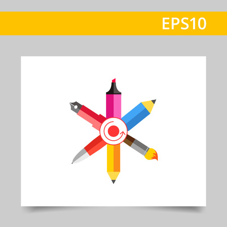 web elements: Icon of crossed ink pen, ball pen, pencil, paint brush, highlighter with dot and arrow circle in center Illustration