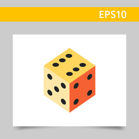 ranging: Multicolored vector icon of dice with number six, five, four