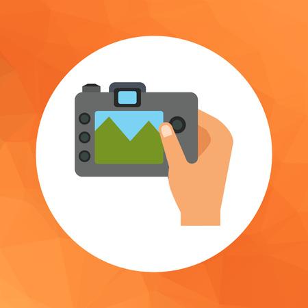 snapshot: Vector icon of human hand holding digital snapshot camera