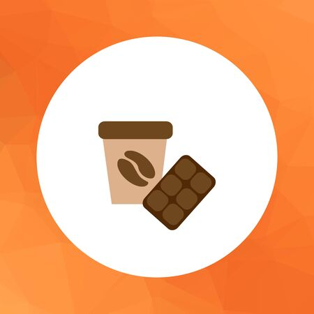 whipped cream: Icon of disposable coffee cup with whipped cream and coffee bean picture and chocolate bar Illustration