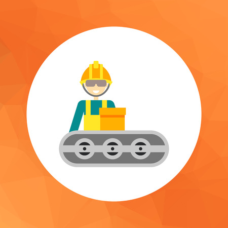 industrial belt: Multicolored vector icon of operator wearing helmet and standing at conveyor belt Illustration