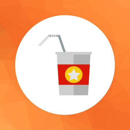 strips away: Multicolored vector icon of straw and disposable cup with red strip and star